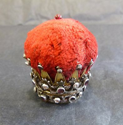 Silver gilt Crown Pin Cushion Ornate Silver Work Studded Diamonds and Rubies