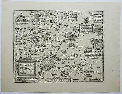 Russia 1587 Original Antique Copper Engraving Map Moscow Baltic Finland Ortelius