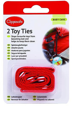 Brand new in pack Clippasafe toy ties in red for stroller or car seat two pack