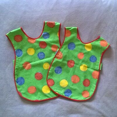 Childrens Green Spotty Multi Coloured Craft Apron (Age 4 - 6 or 6 - 8 years)