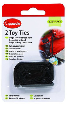 Brand new in pack Clippasafe toy ties in black for stroller and car seat 2 pack
