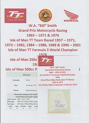 Bill Smith Motorcycle Racer 1963-1976 Iomtt Rare Original Hand Signed Cutting