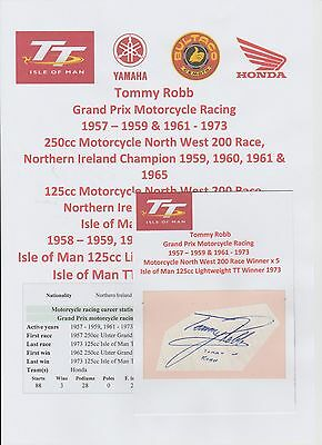 Tommy Robb Motorcycle Racer 1957-1973 Iomtt Rare Original Hand Signed Cutting