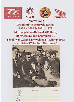 Tommy Robb Motorcycle Racer 1957-1973 Iomtt Rare Original Hand Signed Picture