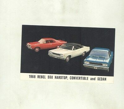 1968 AMC Rebel 550 Hardtop Convertible & Sedan ORIGINAL Factory Postcard my8757