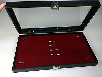 72 Ring Display Glass Top Case w/ burgundy 72 slot insert Jewelry Organizer