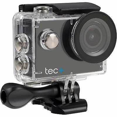 Tec+ HD 720P Waterproof Action Camera with Screen and Accessories Black