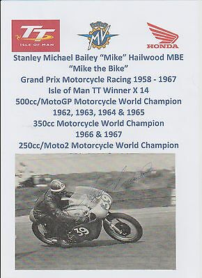 Mike Hailwood Motorcycle Racer 1958-67 World Champ Rare Orig Hand Signed Picture