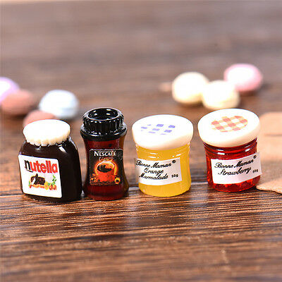 4PCS Dollhouse Miniature Jam Coffee Food DIY Doll House Kitchen Decor 1:12 Scale
