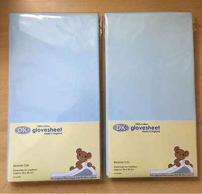 New Dk glovesheet 2 pack fitted sheet for chicco next2me & lullago blue 83x50 cm