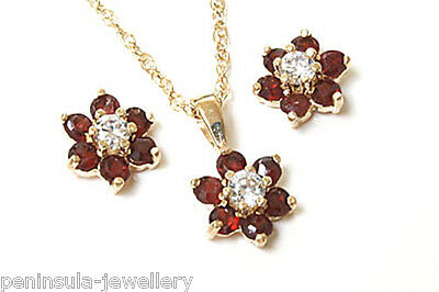 9ct Gold Garnet Cluster Pendant Earrings Set Made in UK Gift Boxed