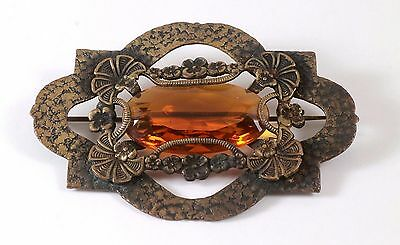 Antique Victorian Large Floral Fan Topaz Glass Sash Pin Brooch