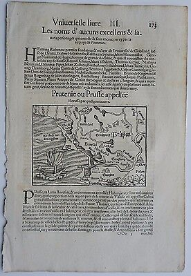 1556 Original Woodcut Map Poland Prussia Lithuania Sebastian Muster