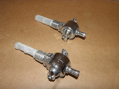 TWO CHROME FUEL VALVE PETCOCK TAP harley SPORTSTER SHOVEL PAN HEAD 1955-1974