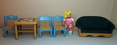 Fisher Price Loving Family Doll house furniture table chairs Mattel sofa seat