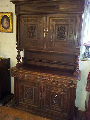 French Antique Carved Oak Brittany Buffet
