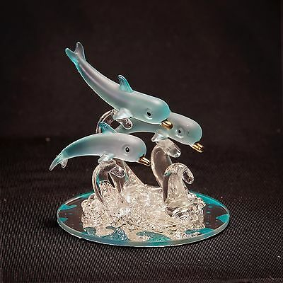 Collectible Glass FIGURINE Crystal DOLPHINS w/ Mirror Base - Decorative Art NEW