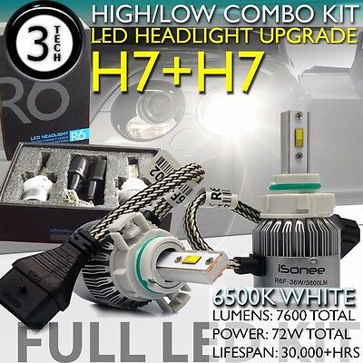 H7+H7 Combo Kit 72W Philips LED Headlight High Low Bulbs 6K Xenon White Light