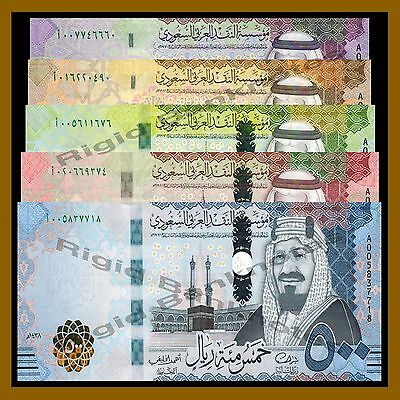 Saudi Arabia 5 10 50 100 500 Riyals (5 Pieces Complete Set), 2016 P-New Unc