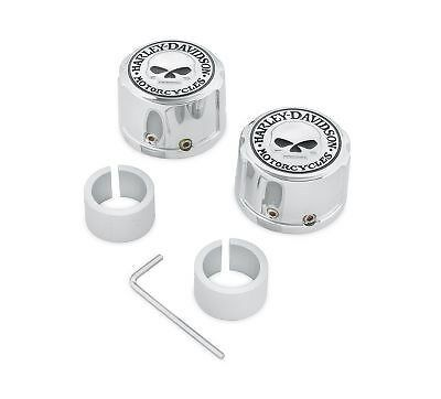 Harley willie g skull front axle nut cover kit softail touring vrod vrsc xl dyna
