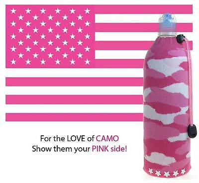 Pink Camo ~ Insulated Wine Beer Water Bottle Koozie Foldable Cooler Coozie Bag