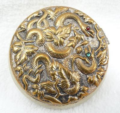 Fine Antique Chinese Silver Gold Overlay Repousse Snakes Serpents Snuff Pill Box