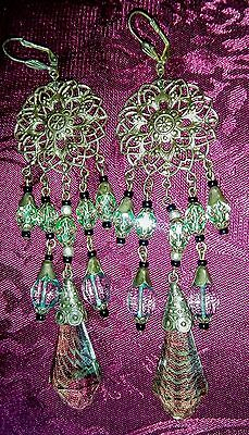 Antique Art Nouveau Czech Green Striped Glass Earrings,
