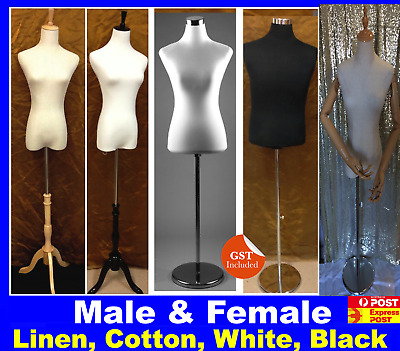 Female Dress Form Mannequin Torso White Cotton Cover Wooden Stand