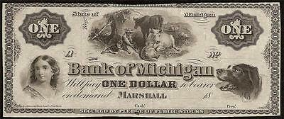 UNC 1860s $1 DOLLAR BILL BANK OF MARSHALL MICHIGAN DOG NOTE PAPER MONEY CURRENCY