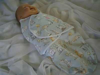 Australian Hand Made Baby Swaddle.wrap.blanket 'bunny Day' 0 -3 Mths.0000-000