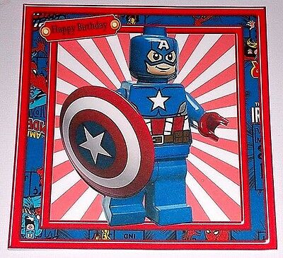 Handmade Greeting Card 3d All Occasion With Lego Captain America