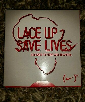 Rare NIKE Red Shoe Laces Lace Up Save Lives Help Fight Aids In Africa  Red+ 120