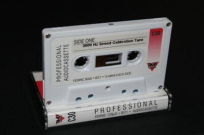 3000 Hz (3 kHz) Speed Calibration Test Tape for Cassette Deck or Walkman C30