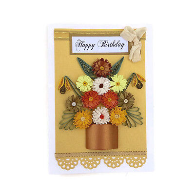 NEW Birthday Card- Paper Quilled Yellow Gold Fringed Pot of Flower-Birthday Card