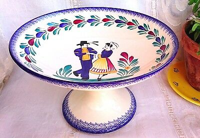 Quimper Compote Fruit Bowl Signed & Hand-painted; will ship from California