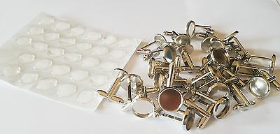 Small joblot of silver plated cufflinks and resin domes jewellery making DIY NEW