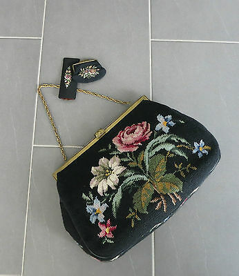 VINTAGE GOBELIN HANDTASCHE_TRACHTEN_1950`s Germany_HUGE NEEDLEPOINT BAG_FLORAL