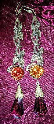 Antique Art Nouveau Purple Orange Czech Glass Earrings Signed Czecho 1 Day Sale!