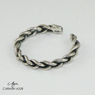 Solid 925 Sterling Silver Toe Ring Braided Oxidised Finish New with Gift Bag