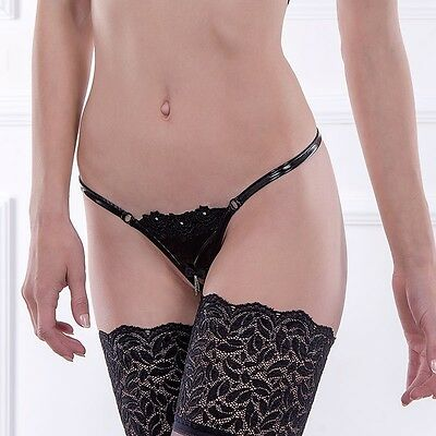 Patrice Catanzaro Caissy string sexy ouvert vinyl strass fetish S M L