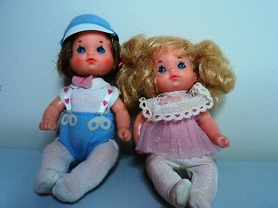 TWIN BOY & GIRL Vintage HEART FAMILY  Baby dolls in original Mattel outfits