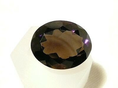 "SMOKY QUARTZ FACETED GEMSTONE OVAL CUT, 24ct, 17 x 21 MM ""NEW"" AUZ SELLER C197"