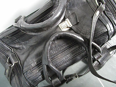 VINTAGE Black Genuine Leather Luggage Travel Carry-On Duffel Bag Suitcase