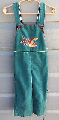 Vintage Toddler Boys/Girls Overalls Teal With Duck 3T Vtg Children's Clothing