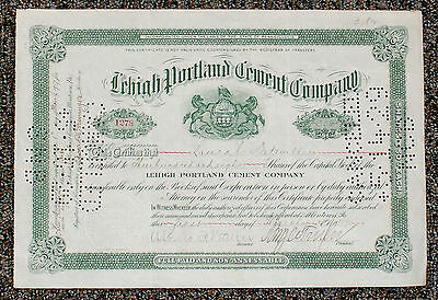 Lehigh Portland Cement Company Stock Certificate Allentown PA Lehigh Valley