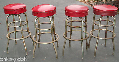 4 Vintage 1950s Red Chrome Original Soda Fountain Diner Bar Swival Stools 1958