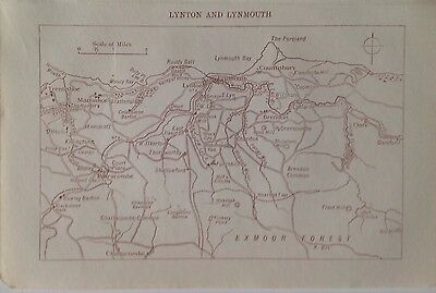 Lynton And Lynmouth, Devonshire,1911 Antique Map, Original Atlas