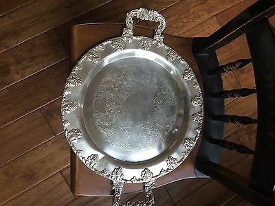 Large Antique Butlers Tray Silver Over Copper Federal Silver Co. Heavy Ornate