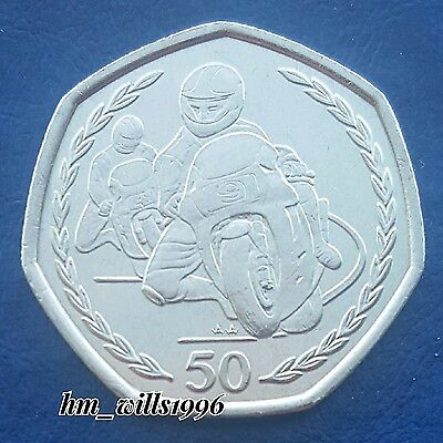 1997 Fifty Pence 50p TT Motorcycle Races Isle Of Man Super RARE Large Size 50p