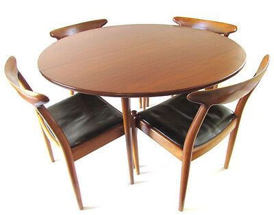 Vintage Mid Century Modern Small Teak & Oak Round Dining Table - High Quality!